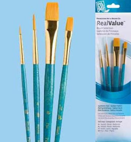 """Princeton RealValue Brush Pack Gold Taklon 4pk - 1, 4, 1/2"""", & 1/4"""""""
