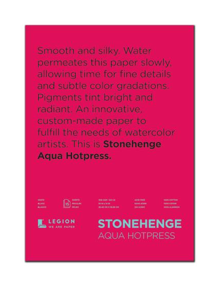 Stonehenge Aqua 140lb Watercolor Paper Hot Press Block 10x14