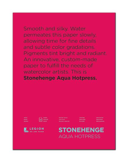 Stonehenge Aqua 140lb. Watercolor Paper Hot Press Block 12x16