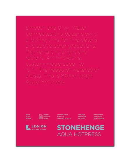 Stonehenge Aqua 140lb Watercolor Paper Hot Press Block 9x12