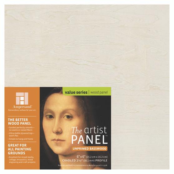 Ampersand Artist Series Unprimed Basswood Panel 1.5-Inch 6x6
