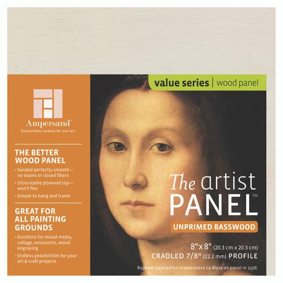 Ampersand Artist Series Unprimed Basswood Panel 7/8 Inch 8x8