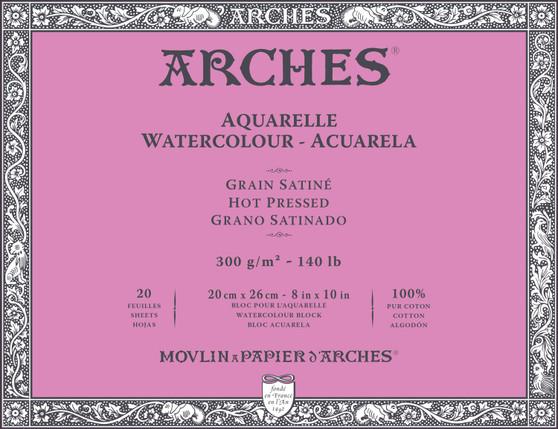 Arches Watercolor Block 140lb Hot Press 8x10