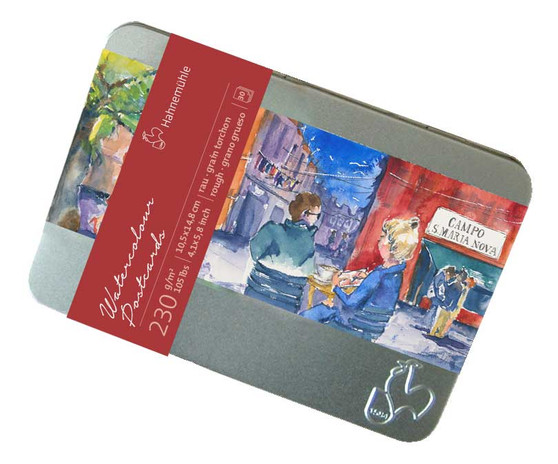 Hahnemuhle Watercolour Rough Press 30 Postcards in Metal Tin