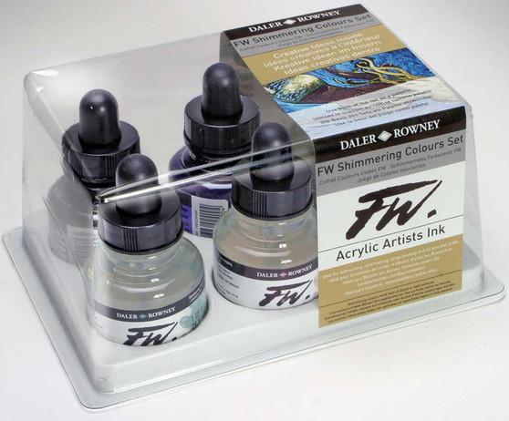 Daler-Rowney Fw Ink 1oz Set of 6 Shimmering Colors