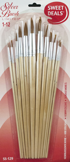 Silver Brush Sweet Deals Brush Set of 12 Long Handle Synthetic Round Brushes