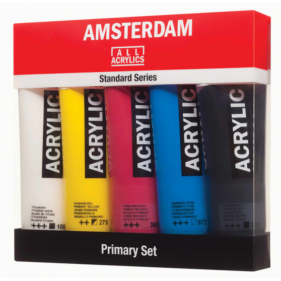 Amsterdam Acrylic 120ml Tube Set of 5 Primary Colors