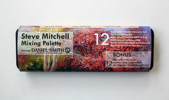 Custom Steve Mitchell Mixing Palette Featuring 12 Daniel Smith 1/2 Pan Watercolors