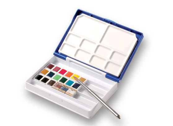 Holbein 1/2 Pan Watercolor Palm Box Plus Set of 18 Colors