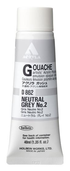 Holbein Acryla Gouache 40ml Neutral Grey #2