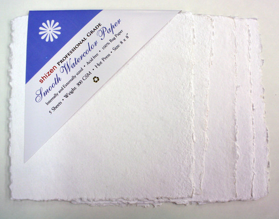 """Shizen Design Smooth Hot Press Watercolor Paper 8x8"""" 5 Sheets Pack"""