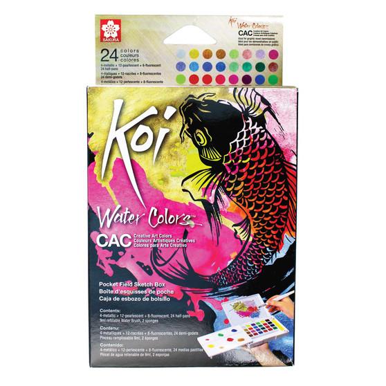 Sakura Koi Creative Art Colors (CAC) Watercolor Set of 24 Fluorescent/Metallic/Pearlescent