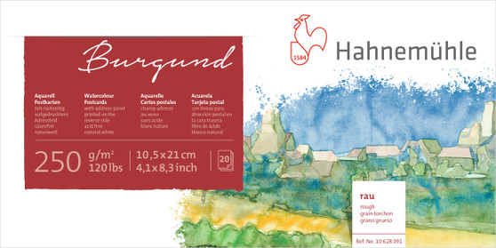 Hahnemuhle Burgund Watercolor Postcard Rough 120lb 4x8 20 Sheets