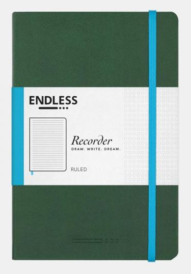 Endless Recorder Journal Ruled Forest Canopy Green