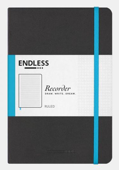 Endless Recorder Journal Ruled Infinite Space Black