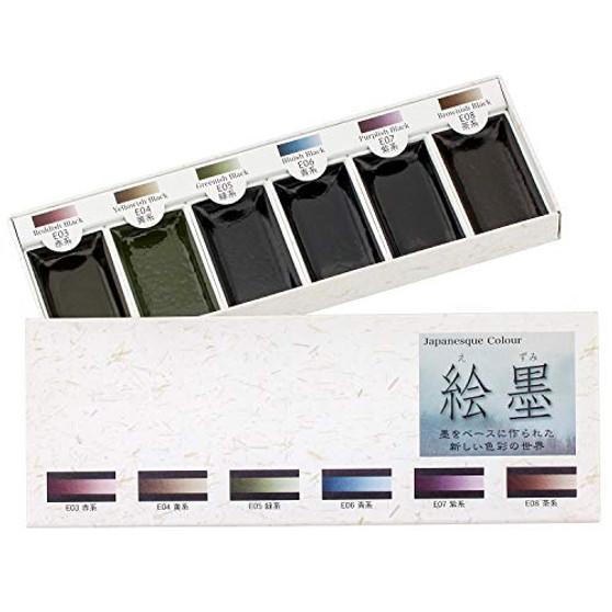Aitoh Boku-Undo Sumi Watercolor Paint 6 Shadow Colors Set from Japan