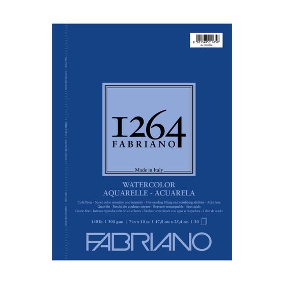 Fabriano 1264 Watercolor Wirebound Pad 140lb Cold Press 7X10 30 Sheets