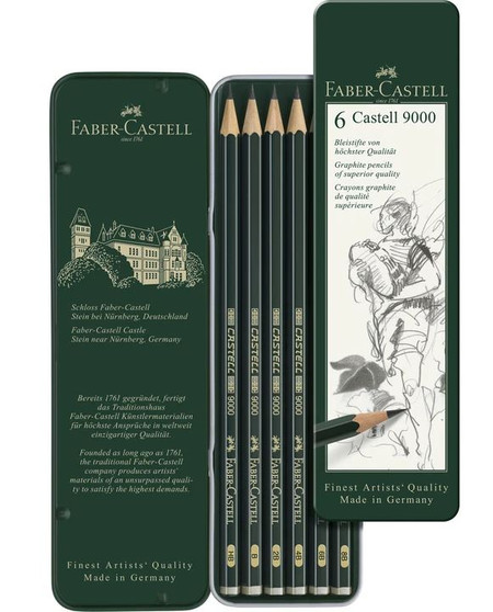 Faber-Castell 9000 Graphite Pencils Tin of 6