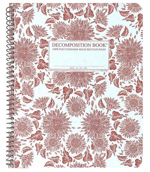 Michael Roger Press Decomposition XL Spiralbound Ruled Notebook Sunflowers