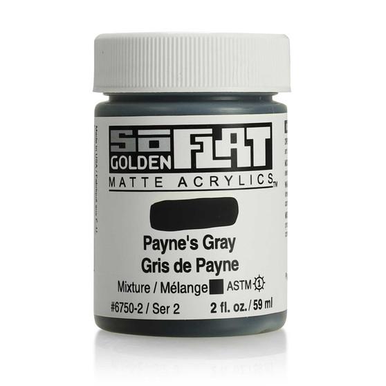 Golden SoFlat Matte Acrylic Paint 2oz Paynes Gray