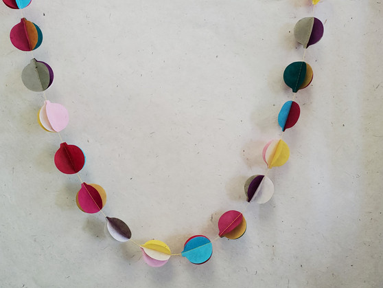 Paper Garland 3D Balls Multi-color