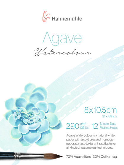 """Hahnemuhle Agave Watercolor Pad 12 Sheet 8x10.5cm (3x4"""")"""