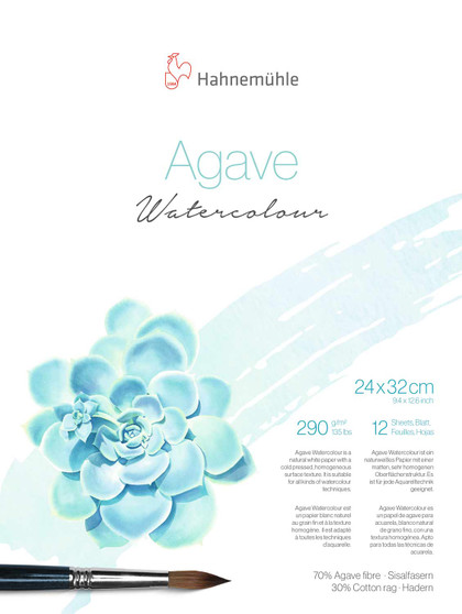 """Hahnemuhle Agave Watercolor Block 12 Sheet 24X32cm (9.5x12.5"""")"""