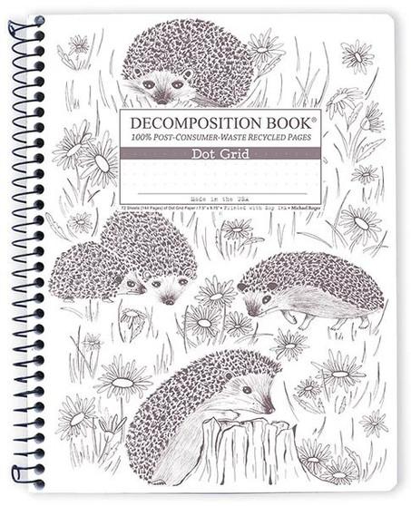 Michael Roger Press Decomposition Spiral Bound Dot Grid Notebook Hedgehog