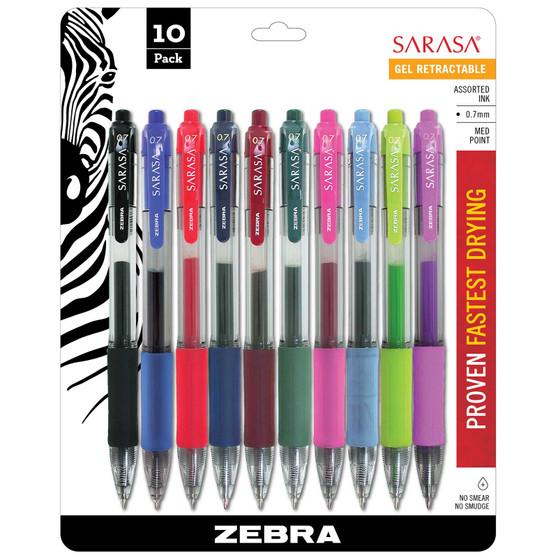 Zebra Sarasa Dry X20 Gel Retractable Pen .7mm 10 Pack