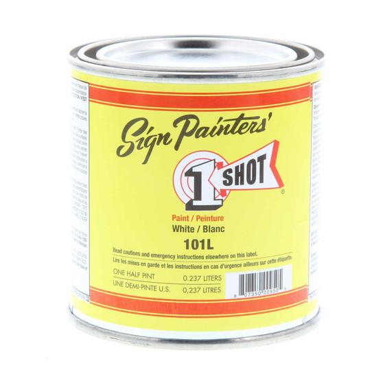 1 Shot Lettering Enamel 1/2 Pint Paint Can White