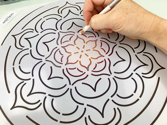 "The Dotting Center 12"" Mandala Stencil Flower"