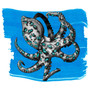 Anderillium Fountain Pen Ink Bottle 1.5oz Blue-Ringed Octopus Blue