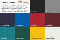 Optional Sunbrella canvas colors