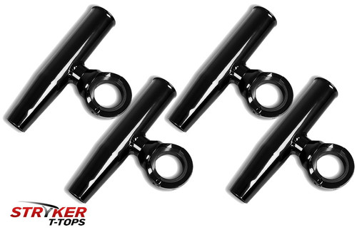 4 Single Fishing Rod Holders - Powder Coated Black