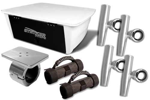 Set of 1 Electronics Box 4 Single Rod Holders (Anodized) 2 Removable Grab Handles & 1 Universal Mount