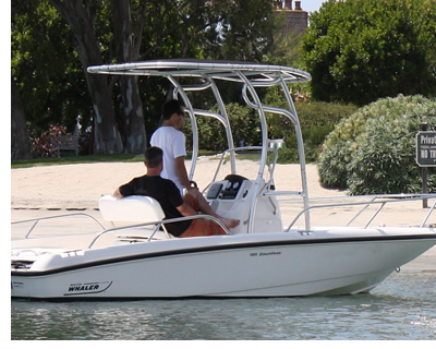 Boat t-top made of anodized 6061-T6 aluminum alloy