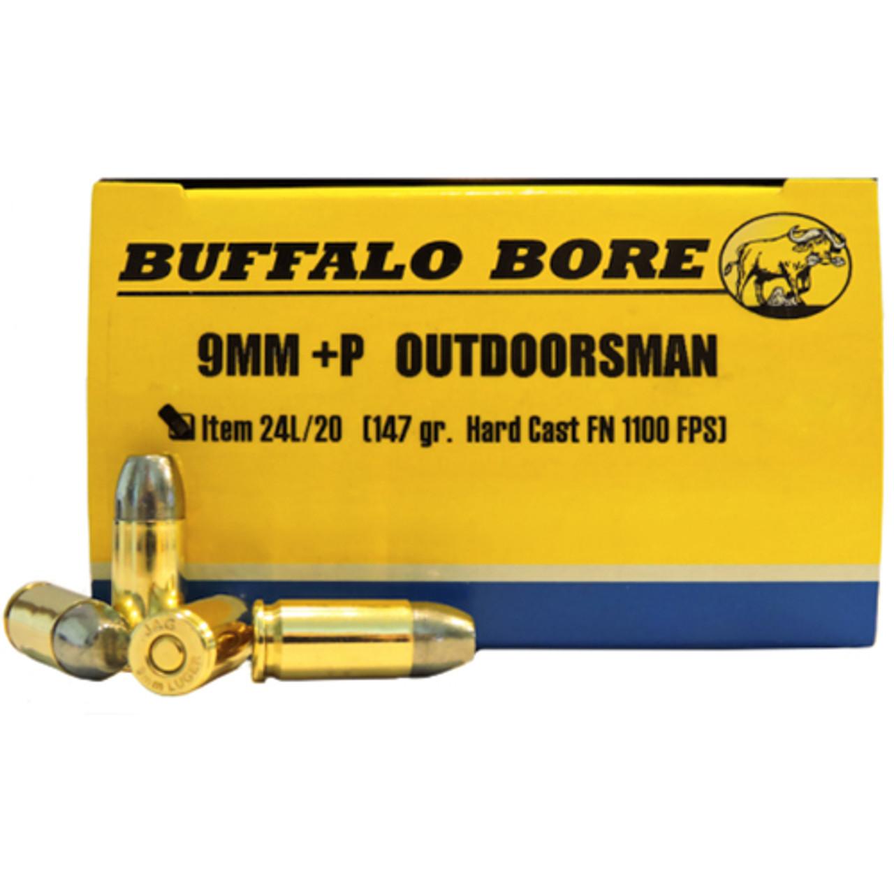 Buffalo Bore Ammunition Outdoorsman 9mm Luger +P 147 Grain Hard Cast Lead  Flat Nose Box of 20, UPC :651815024141