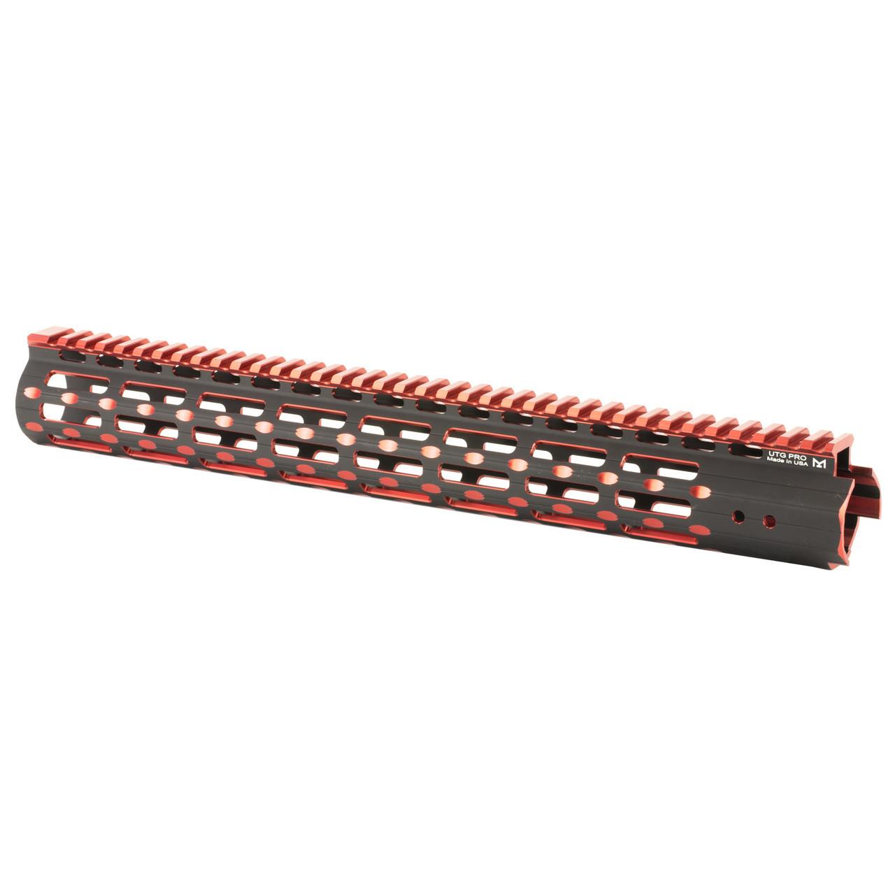 Leapers, Inc  - UTG UTG PRO, M-Lok Super Slim Free Floating Rail, Black/Red  2-Tone, Fits AR-15, 15