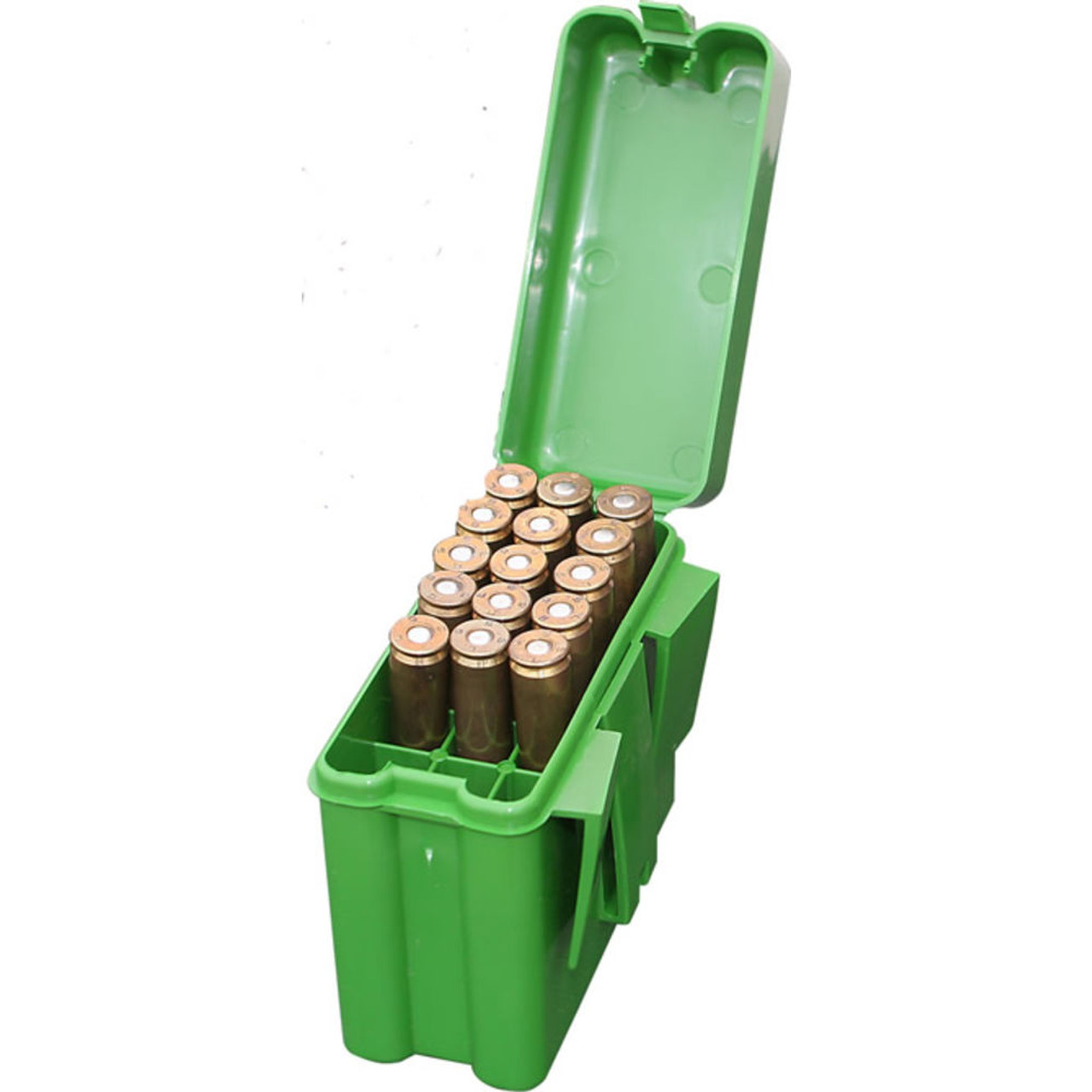 MTM Flip-Top Belt-Style Ammo Box 22-250 Remington, 243 Winchester, 308  Winchester 20-Round Plastic Green, UPC : 026057212104