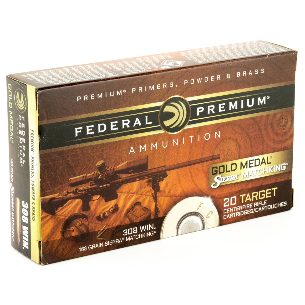 Federal Gold Medal Match, 308 Winchester, 168 Grain, Boat Tail, Hollow  Point  20 Round Box GM308M, UPC : 029465089337