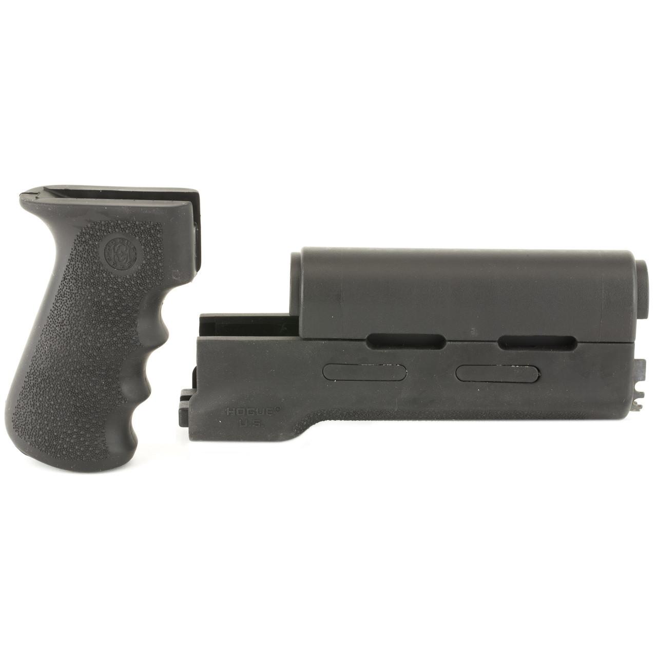 Hogue Grips OverMolded Grip/Forend Kit, Longer Yugo Version, Fits AK-47 &  AK-74 Variants, Black Finish 74018, UPC :743108740187