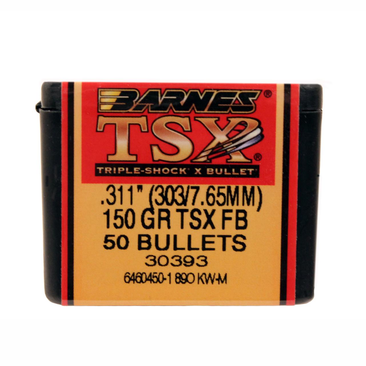 Barnes Triple-Shock X (TSX) Bullets 303 Caliber (311 Diameter) 150 Grain  Hollow Point Flat Base Lead-Free Box of 50, UPC :716876311156