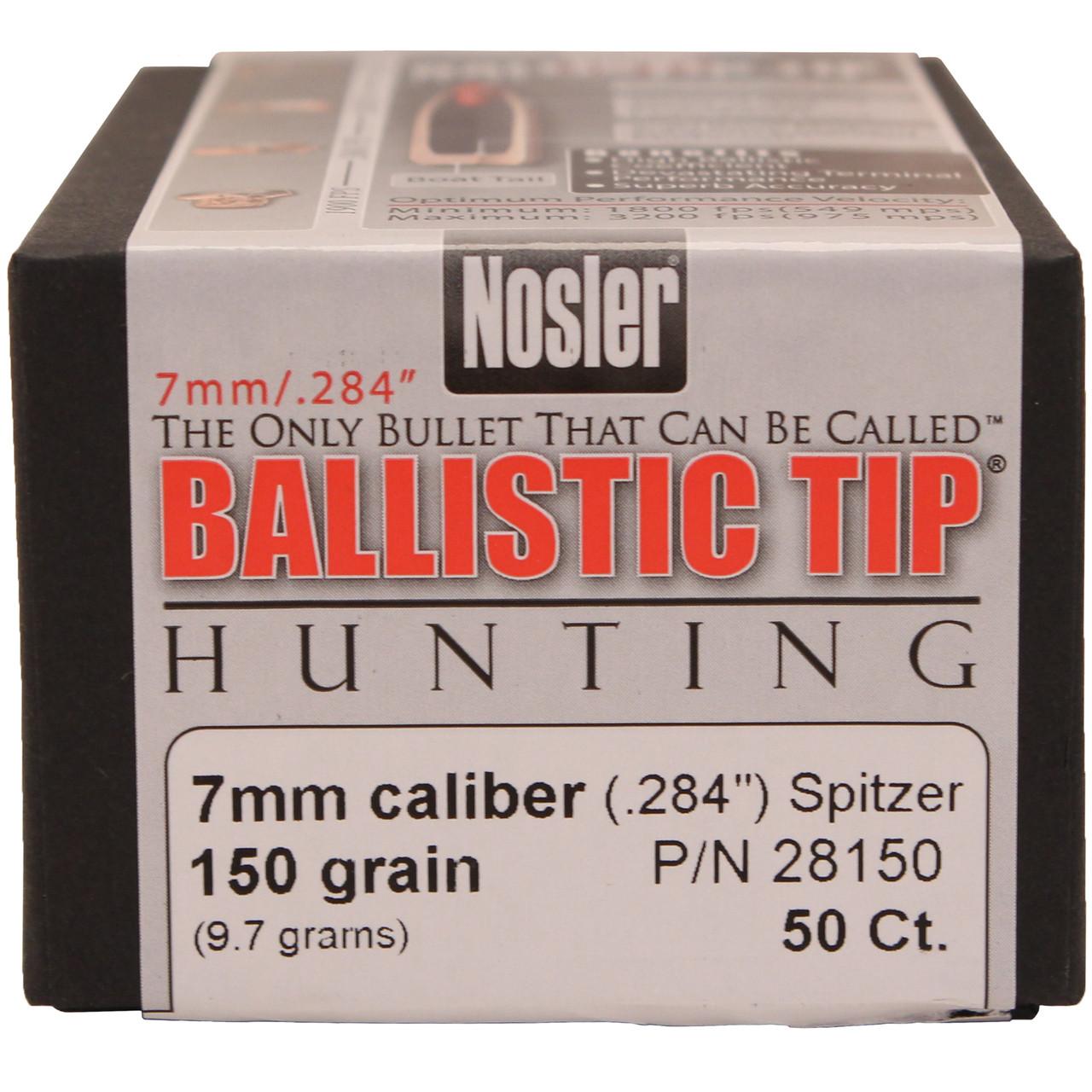 Nosler Ballistic Tip Hunting Bullets 284 Caliber, 7mm (284 Diameter) 150  Grain Spitzer Box of 50, UPC : 054041281508