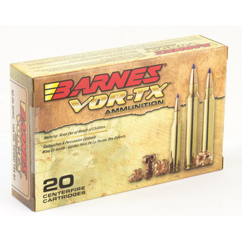 Barnes VOR-TX, 30-06, 168 Grain, Tipped Triple Shock X, Boat Tail, Lead Free, 20 Round Box 21565, UPC :716876130672