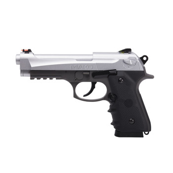 Crosman Mako CO2 Powered Blowback BB Pistol, Semi Automatic, Silver Metal Slide and Steel Barrel, 20 Round Drop Out Magazine, Fiber Optic Sights, 450 Feet Per Second CM9B, UPC : 028478150652