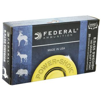Federal PowerShok, 6.5X55 Swedish, 140 Grain, Soft Point, 20 Round Box 6555B, UPC : 029465089832