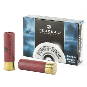 "Federal PowerShok, 12 Gauge, 3"", Mag Dram, 1.25oz, Rifled Slug, Hollow Point,5 Round Box F131RS, UPC : 029465009922"