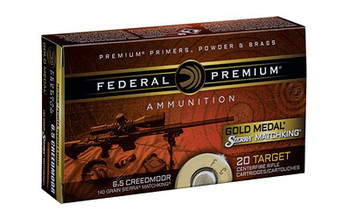 Federal Gold Medal, 6.5 Creedmoor, 140 Grain, Sierra Match King Boat Tail Hollow Point, 20 Round Box GM65CRD1, UPC :604544630312