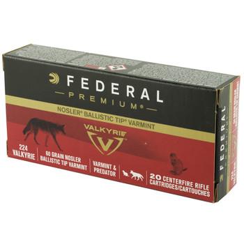 Federal Premium, 224 Valkyrie, 60 Grain, Nosler Ballistic Tip, 20 Round Box P224VLKBT1, UPC :604544630282