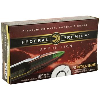 Federal Vital-Shok, 308WIN, 150 Grain, Ballistic Tip, 20 Round Box P308F, UPC : 029465090302